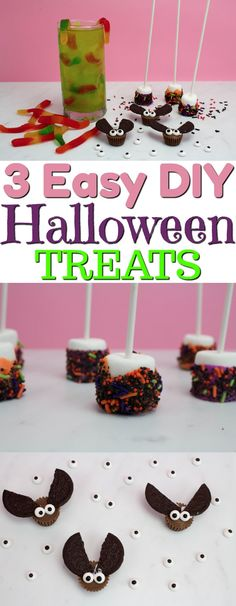 Today I want to share 3 Easy DIY Halloween Treats that all of your guests will love. It's easier than you think to create Halloween party food quickly and easily. #halloween #happyhalloween #trickortreat #halloweenparty #halloweenfun #crafts #craftideas #DIY #halloweenDIY #halloweencraft #candy #brownies #baking #recipe #halloweentreats #halloweenrecipe