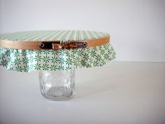 Must make this adorable cake stand using foam board, an embroidery hoop and a mason jar.
