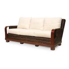 Beau British Colonial Style Sofa With Intricately Carved Framework. Comes With  Six Scatterback Pillows And An Ultra Down Cushion. Produ.