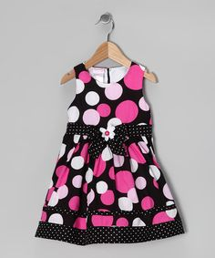 Take a look at this Dark Pink Polka Dot Dress & Bolero - Infant & Toddler by Nannette on #zulily today!