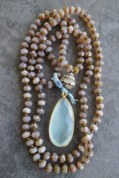 Knotted opal chalcedony necklace Spring Rain by slashKnots, $134.00