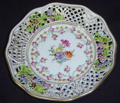 ~ Antique Dresden Meissen Plates~  love the open lattice. ~