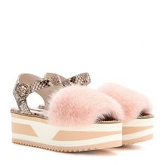Dolce & Gabbana Fur-Trimmed Snakeskin Platform Sandals (3.802.715 COP) ❤ liked on Polyvore featuring shoes, sandals, multicoloured, multicolor shoes, colorful shoes, snake print sandals, platform shoes and multi colored sandals