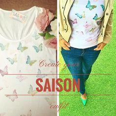 Camiseta con mariposas pintadas de la nueva colección vintage de Saison  www.facebook.com/Saison.camisetas