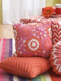 Hexagon Pillow | Yarn | Free Knitting Patterns | Crochet Patterns | Yarnspirations