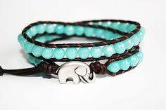 Elephant Bracelet, Leather Beaded Wrap, Good Luck, Elephant Jewelry, Boho Chic, Baby Blue, Bohemian Wrap