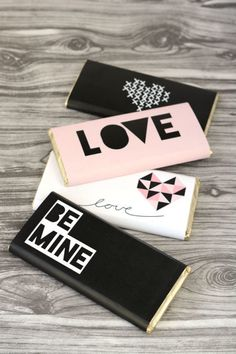 "CUSTOM WRAPPED CANDY:A chocolate bar becomes instantly appropriate for the day of love with a fresh new wrapper that says ""Be Mine"". Click through for the tutorial and more fun DIY Valentine's Day gifts to make for all your loves."