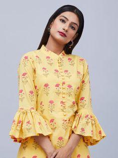 Yellow Hand Block Printed Cotton High Low Kurta