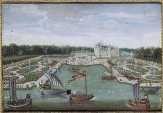 Vue du château de Chantilly et des parterres prise du Vertugadin. Gouache sur vélin. © Ecole française de la fin du XVIIe - Chantilly Musée Condé