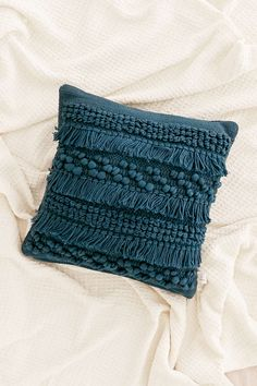 Shop Anita Woven Shag Pillow at Urban Outfitters today. We carry all the latest styles, colors and brands for you to choose from right here. Navy Blue Throw Pillows, Boho Throw Pillows, Diy Pillows, Decorative Pillows, Pillow Ideas, Cushion Ideas, Cricut, Pillow Texture, Textiles