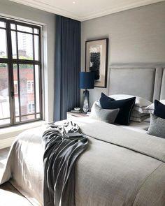 Gray and Blue Bedroom. Gray and Blue Bedroom. Grey and Dark Blue Bedroom Color Scheme Grey Bedroom Color Dove Grey Bedroom, Blue Bedroom, Bedroom Colors, Light Bedroom, Interior Design London, Luxury Interior Design, Navy Bedrooms, Neutral Bedrooms, Navy Curtains Bedroom
