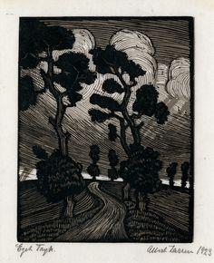 "Swedish Landscape by Albert Larsen (1885 - 1957), 1923, 2 color woodcut , 6 1/2 x 5 1/8"" image size"