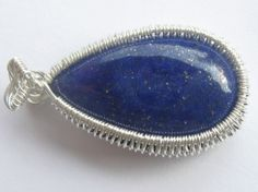 Lapis Lazuli Tear Pendant - Lapis Lazuli Cabochon Wire Wrapped in Sterling Silver Lapis Lazuli, Wire Wrapping, Sterling Silver, Pendant, Unique Jewelry, Handmade Gifts, Etsy, Shopping, Vintage