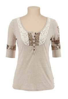 Maurices Premium Sequin and Lace Embellished Henley Top available at #Maurices