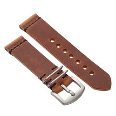 Military Apple Watch Strap with Natural Dublin Leather
