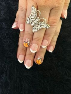 Halloween french nails with orange& black
