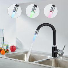 Grifo Cocina Negro Extra/íble 360/° Rotacion Grifer/ía Fregadero Agua Fr/ía y Caliente Lat/ón Grifo Monomando con Ducha PHASAT KB01E