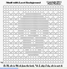 Filet Crochet: Crochet Thread Filet Lacet Skull Doily with Brain Slice Edging Day of the Dead Wicca Pagan Halloween Crochet Cross, Crochet Chart, Thread Crochet, Filet Crochet, Crochet Motif, Crochet Doilies, Double Crochet, Crochet Skull Patterns, Halloween Crochet Patterns