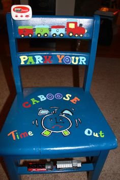 The Train Themed Time Out Chair I made for my Grandson