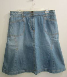 Christopher & Banks Paneled Denim Jean Skirt Womens Size 14 #ChristopherBanks #PleatedPaneledALine