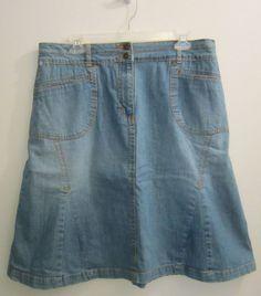 Christopher & Banks Paneled Denim Jean Skirt Womens Size 14 #ChristopherBanks #PleatedPaneledALine