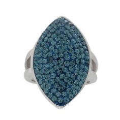 qvc Steel by Design Stainless Pave Marquise Design Blue Crystal Ring 7 500M #SteelbyDesign #Cluster