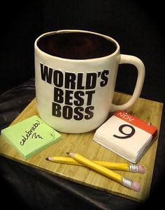 world's best boss mug cake by debbiedoescakes Cupcakes, Cupcake Cakes, Beautiful Cakes, Amazing Cakes, Farewell Cake, Cake Design For Men, Worlds Best Boss, Delicious Cake Recipes, Different Cakes