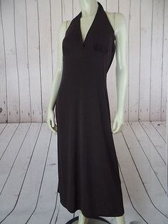 BANANA REPUBLIC Dress Large Brown Rayon Poly Stretch Knit Halter Unlined SEXY!