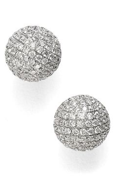 Bony Levy Large Diamond Pavé Ball Stud Earrings (Limited Edition)