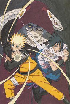 Masashi Kishimoto, Naruto, Sasuke Uchiha, Kabuto Yakushi, Naruto Uzumaki