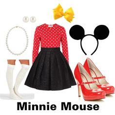 DIY Halloween Costume: Minnie Mouse. #cute #easy #DIY #Halloween #MinnieMouse #minnie #Disney #ears #costume #cheap #adorable #adult #appropriate