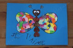 Parce que la St Valentin approche et parce que les enfants aussi sont amoureux, voici un joli papillon fait avec des coeurs et pleins de couleurs qu'ils pourront offrir aux personnes qu'ils aiment. Que faut-il ? le dessin du papillon (A imprimer au point...
