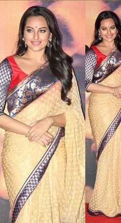 Sonakshi Sinha Ethnic Party Wear Designer Cream Saree