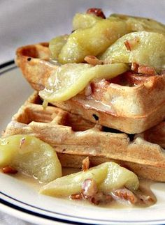 Crispy Spiced Waffles with Caramelized Apples by @Matty Chuah Noshery