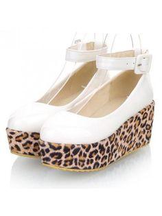 Buckle Detail Ankle Strap Leopard Decorated White Platform Shoes