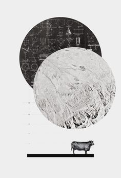Calculating a Jump Over the Moon, Vintage, Collage, Nursery Rhymes, Cow, Geometry, Black and White