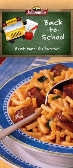 Spruce up boring Mac & Cheese with brats! Perfect for kids big or small! #BackToSchool