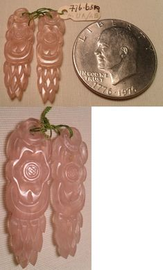 Rose Quartz 69149: Vintage Chinese Hand Carved Rose Quartz Earring Drops Flower Feather Design Nos -> BUY IT NOW ONLY: $31.95 on eBay!