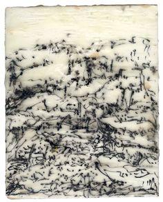 """Zahava Rozman    Countryside -- Zahava Rozman 2010, Encaustic on birchwood, 8.5""""w x 10.5""""h www.see-art.net"""