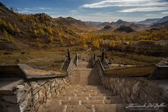Gorkhi-  Terelj National Park - Töv Province - Mongolia -Монгол Улс-  Mongolian Autumn - by Emanuele Del Bufalo -  I'm on the stairs leading to Aryabal Monastery, behind my back surrounded by an amphitheater of rock is the ancient monastery, in front of me stretches the beautiful valley of Gorkhi-Terelj National Park. It's late September and the fall colors transform the landscape into a painting.