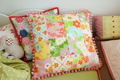 patchwork pillows out of sheets.