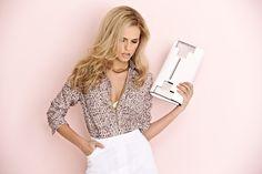 Damart beige printed blouse with white pull on skirt. www.damart.co.uk