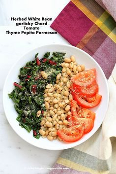 Herbed White Bean Rainbow Chard Thyme Pepita Parmesan Bowl. Vegan Recipe - Vegan Richa
