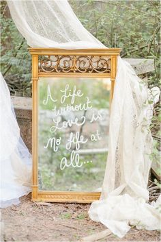 Mirrors are a lovely canvas for meaningful words. Le Magnifique Blog #weddingsigns #quotes