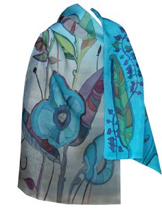 Silk Scarf Hand Painted Floral Duet in Sky Blue and Smoky