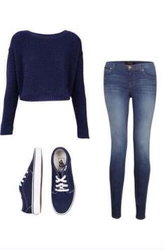 Jeans, blue sweater and blue shoes outfit