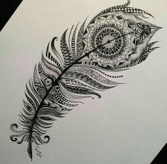 into this amazing feather we can see several drawings. Just Perfect !