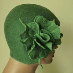 Felt hat  olive green  with brooch felted hat1920s by ZiemskaArt, $109.00