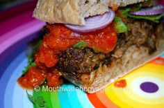 Mushroom Walnut & Spicy Quinoa Burger (With A Smokey Tomatoed Pineapple Salsa) from Mouthwatering Vegan