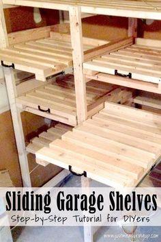 DIY Sliding Garage Storage Shelves - Great Tutorial http://www.mancavegenius.org/category/man-cave-ideas/